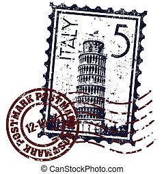 bélyeg, ábra, olaszország, elszigetelt, ikon, vektor, ...