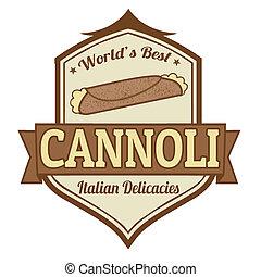 bélyeg, cannoli, vagy, címke