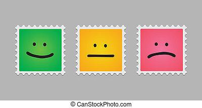 bélyeg, felad, emoticons