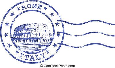 bélyeg, kolosszeum, kopott, rom