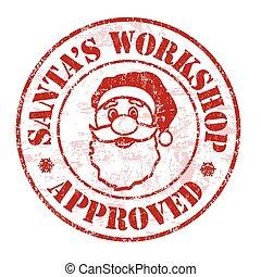 bélyeg, műhely, jóváhagyott, santa's