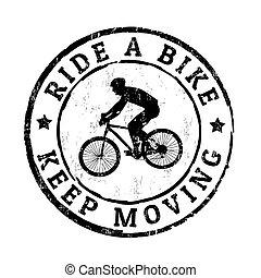 bélyeg, mozgató, lovagol, bicikli, tart