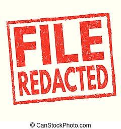 bélyeg, redacted, vagy, reszelő, aláír