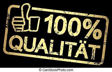 bélyeg, szöveg, 100%, qualität, arany