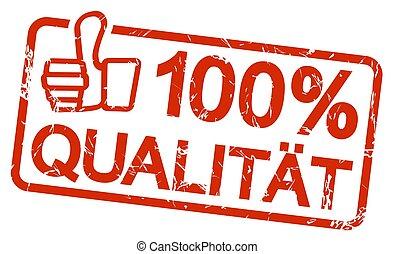 bélyeg, szöveg, 100%, qualit?t, piros