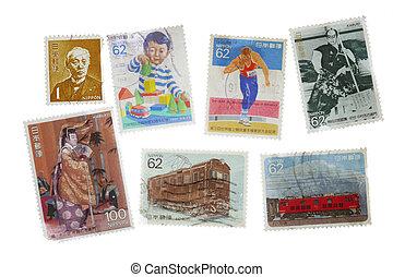 bélyeg, szüret, japán, gyűjtés