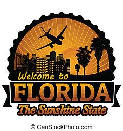 bélyeg, utazás, florida, vagy, címke