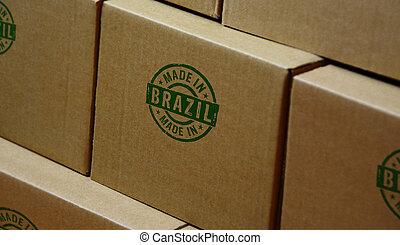 bélyegzés, brazília, bélyeg, elkészített