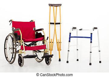 béquilles, aids., fauteuil roulant, mobilité, isolé, blanc