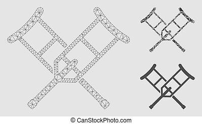 béquilles, fil, triangle, cadre, maille, vecteur, modèle, mosaïque, icône