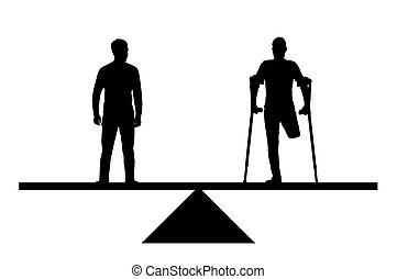 béquilles, vecteur, silhouette, droits, sain, jambe, égal, handicapé, personne, sans, équilibre