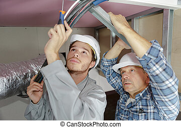 bér, munkás, állhatatos, a, plafon, arcél, alatt, a, új, lakás