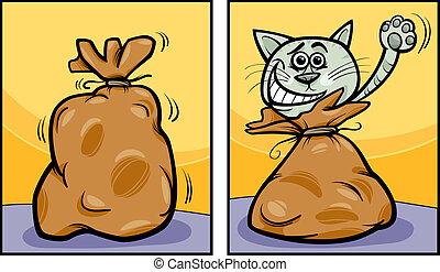 bérbeadás, a, macska, ki, közül, a, táska, karikatúra