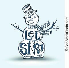 bérbeadás, azt, hó, képben látható, hó bábu