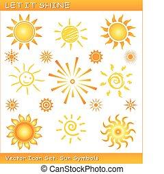 bérbeadás, azt, ragyog, /, vektor, nap, ikon, állhatatos
