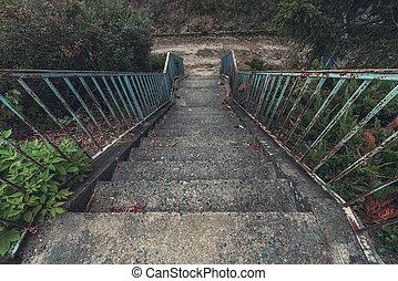 béton, balustrade, bleu, rouillé, escalier, vieux