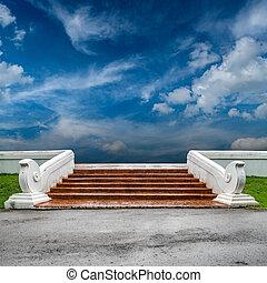béton, blanc, escalier, balustrade