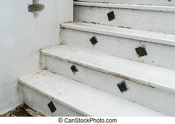 béton, blanc, escalier