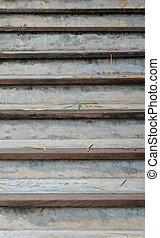 béton, bois, escalier