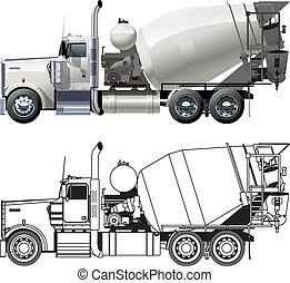 béton, camion, mélangeur