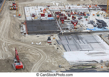 béton, construction, à, excavateur, excavateur, camions, bulldozer
