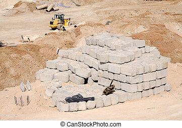 béton, construction, blocs, site