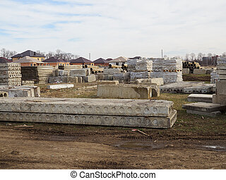 béton, construction, bricks., site, dalles
