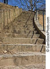 béton, courber, escalier