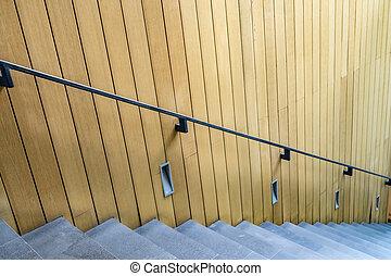 béton, escalier, balustrade