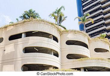 béton, garage, stationnement, circulaire, tropiques