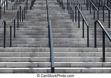 béton, grille, escalier, fer