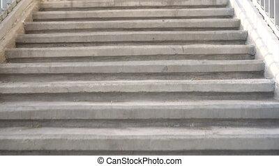 béton, haut, escaliers., appareil photo, escalade, person., ...