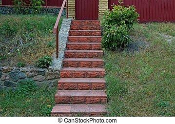 béton, herbe, rouge vert, escalier, étapes