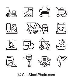 béton, ligne, ensemble, icônes