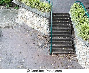 béton, métal, railing., escalier