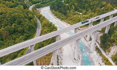 béton, montagnes, viaduc, autoroute, piliers, vue, aérien
