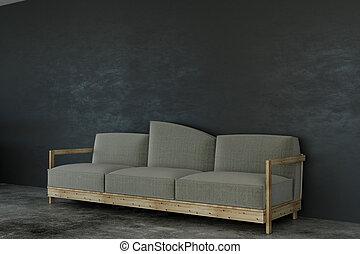 béton, salle, divan
