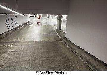 béton, stationnement, allée, vide, garage