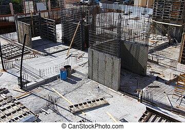 béton, travail construction, site