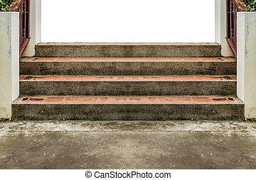 béton, vieilli, escalier
