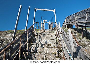 béton, vieux, escalier