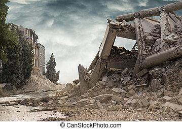 béton, vue, effondré, au-dessus, construisant ciel, industriel, sombre, dramatique
