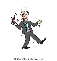 bêbado, caricatura, homem