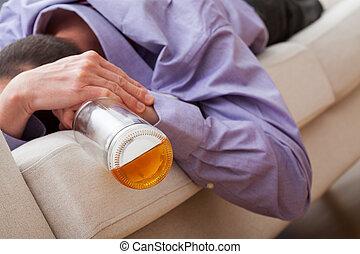 bêbado, homem, viciado, para, álcool