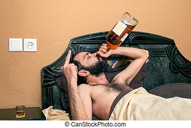 bêbedo, engraçado, homem, quarto