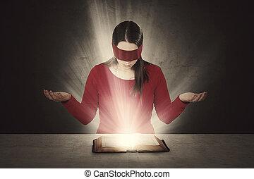 bíblia, blindfolded, leitura