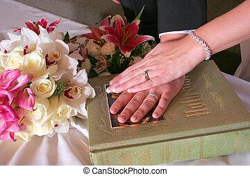 bíblia, casório, noiva, mãos, dia, noivo