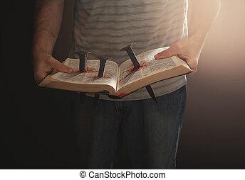bíblia, com, pregos