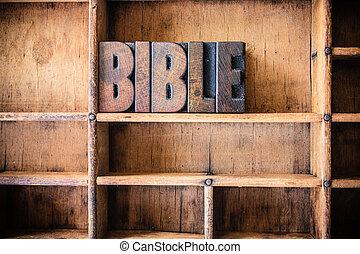 bíblia, conceito, madeira, letterpress, tema
