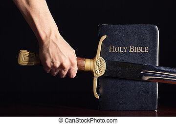 bíblia, homem, atlético, seu, espada, jovem